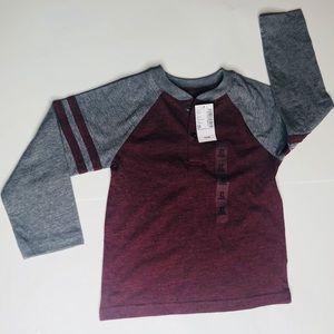 Long sleeve burgundy and grey boys shirt size 2t